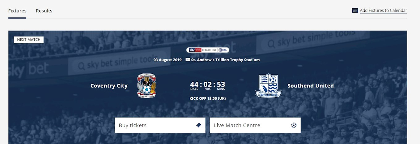FIXTURES: Sync All The 2019/20 Coventry City Fixtures To Your